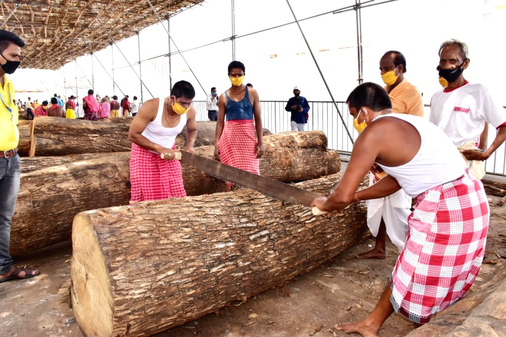 Construction of chariots underway ahead of Jagannath Rath Yatra in Puri, Odisha on May 9, 2020.
