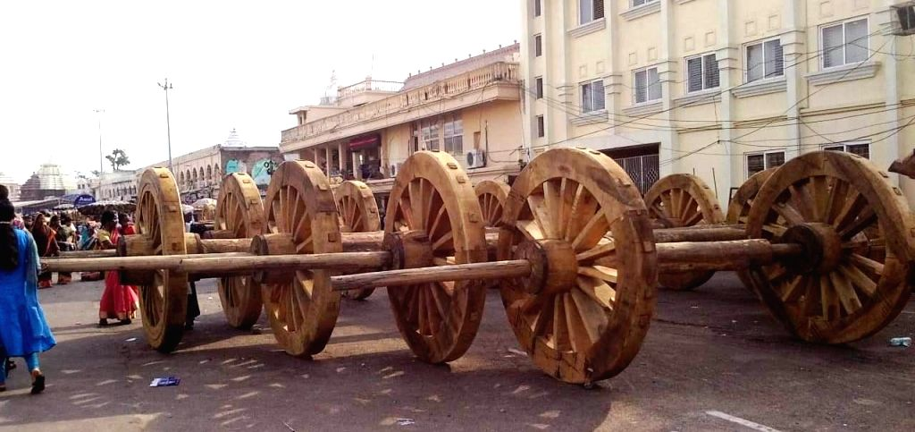Construction of chariots underway ahead of Jagannath Rath Yatra in Puri, Odisha on June 13, 2019.