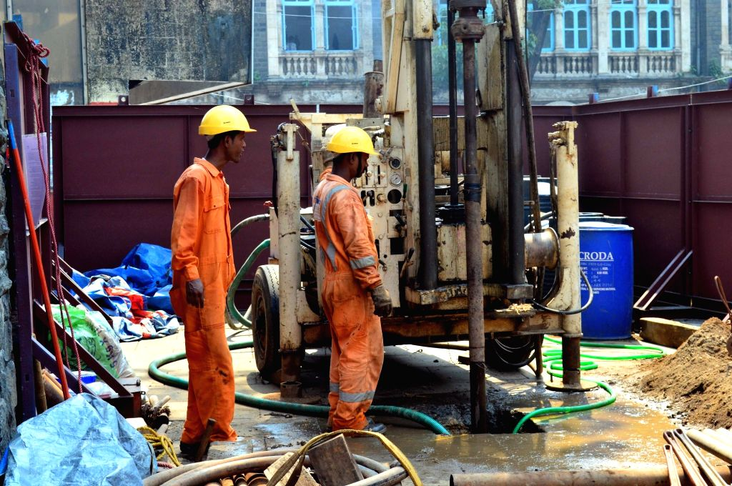 Construction work for metro rail underway at Chhatrapati Shivaji Terminus (CST) in Mumbai n Oct 19, 2016.