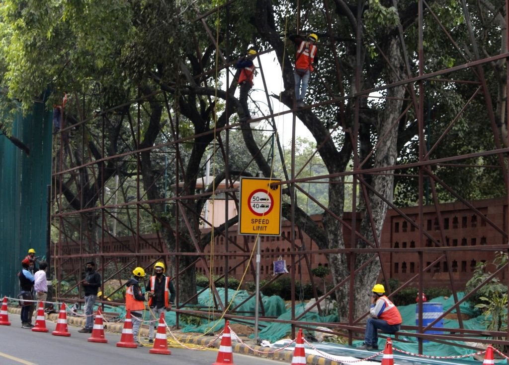 Construction work in progress for the new parliament building, in New Delhi on Nov 16, 2020. (photo: IANS)