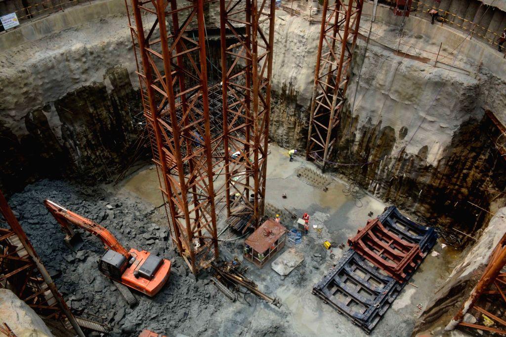 Construction work underway for the Colaba - Bandra - Andheri Seepz underground Metro Project at Naya Nagar, Mahim in Mumbai on Sept 11, 2017.