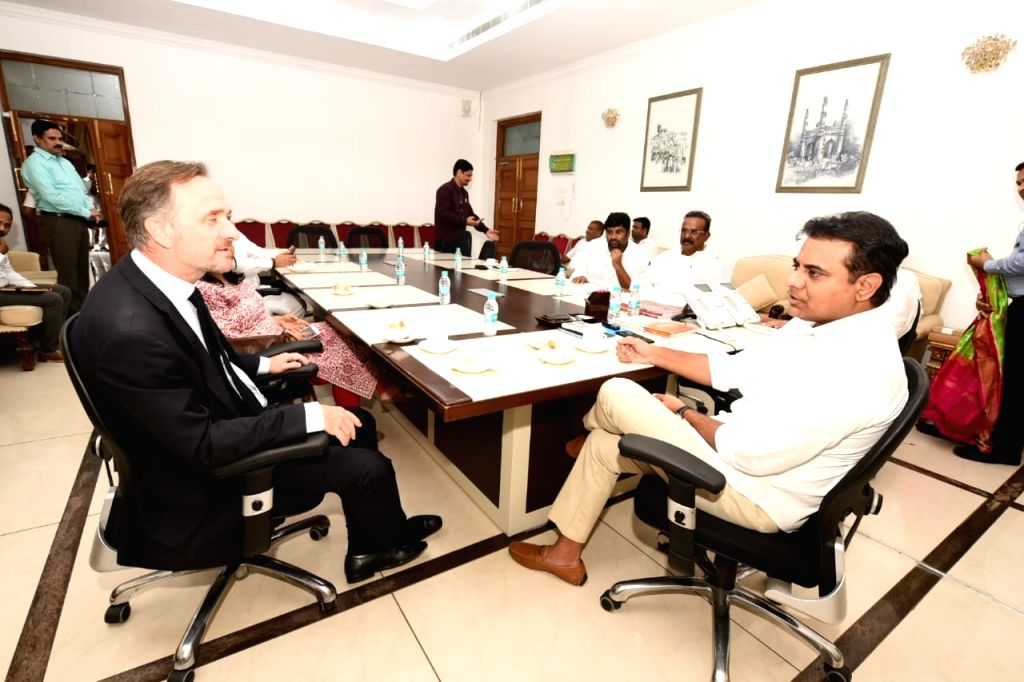 Consul General of France Francois Gautier meets Telangana Rashtra Samithi (TRS) working president KT Rama Rao in Hyderabad on July 18, 2019. - Rao