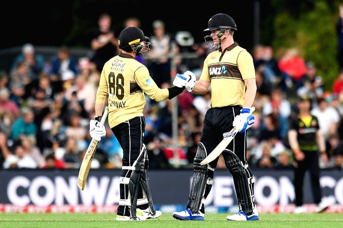 Conway's 99 not out helps NZ beat Aus by 53 runs (credit: @BLACKCAPS/Twitter)