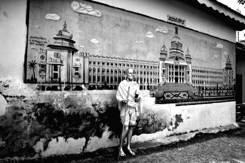 Cop Shiva, Being Gandhi 14, Hahnemuhle Photo Rag Bright White paper, 35 x 51.5 inc. - Gandhi