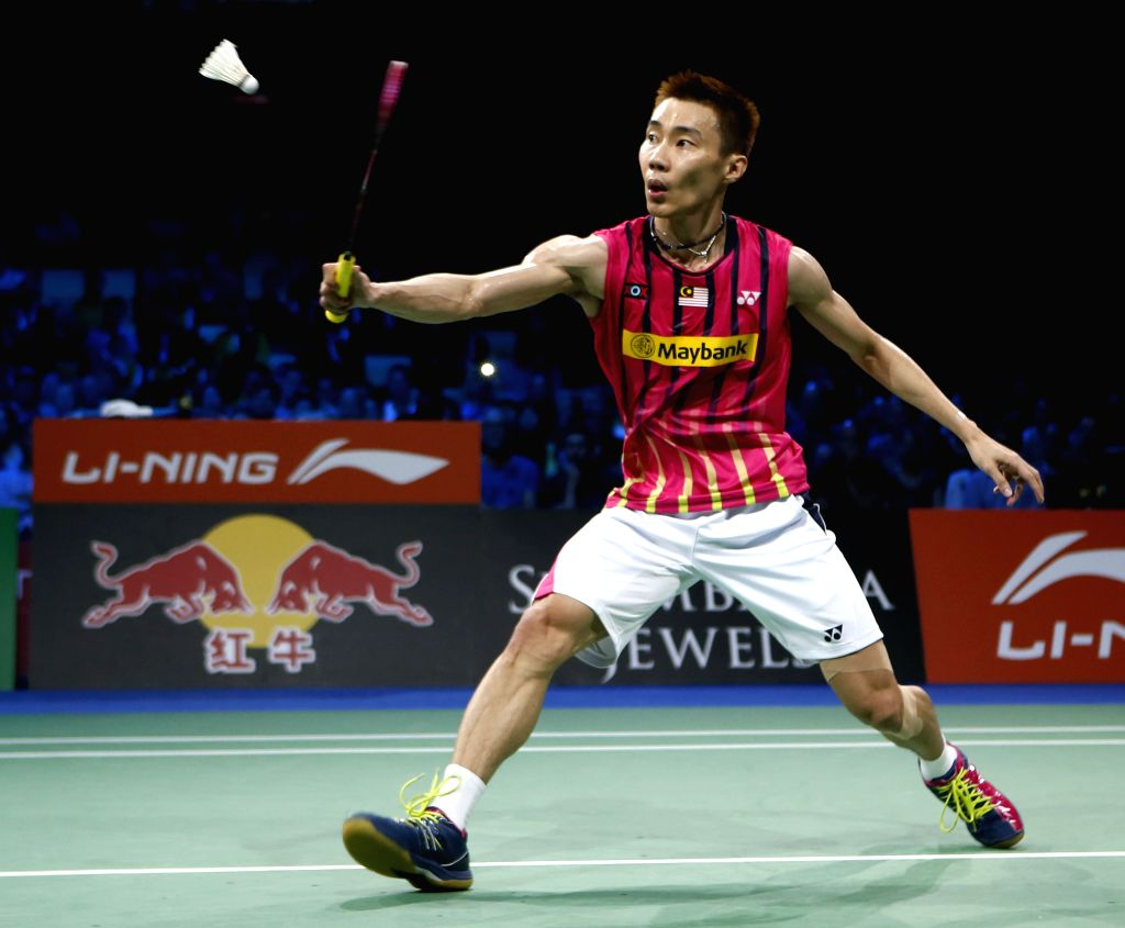 Chong Wei Lee of Malaysia returns the shuttle during the Men's Singles Semifinal against Viktor Axelsen of Denmark on Day 6 of Li Ning BWF World Championships ...