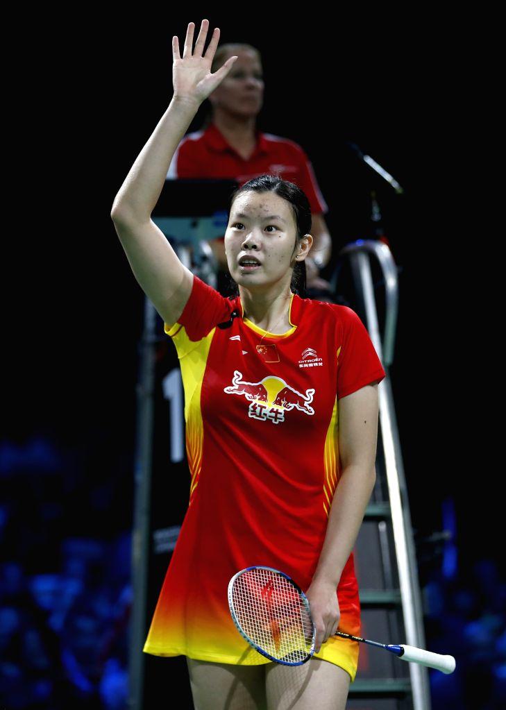 Li Xuerui of China greets the spectators after the Women's Singles Semifinal against Minatsu Mitani of Japan on Day 6 of Li Ning BWF World Championships 2014 at ..
