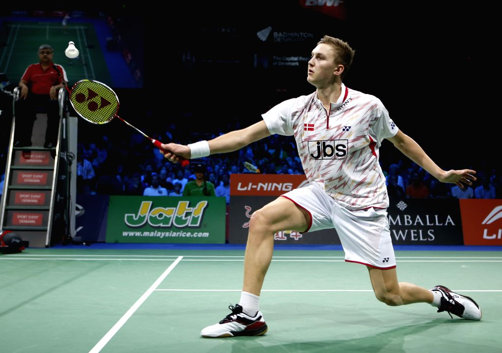 Viktor Axelsen of Denmark returns the shuttle during the Men's Singles Semifinal against Chong Wei Lee of Malaysia on Day 6 of Li Ning BWF World Championships ...
