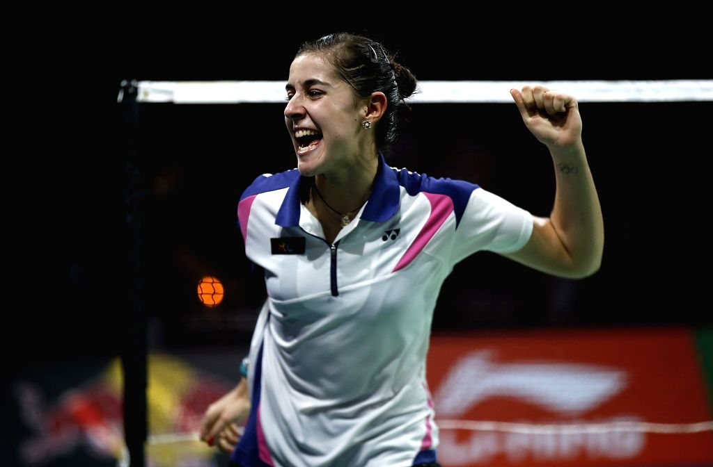 Carolina Marin of Spain celebrates after the Women's Singles Final against Li Xuerui of China on Day 7 of Li Ning BWF World Championships 2014 at Ballerup Super ..