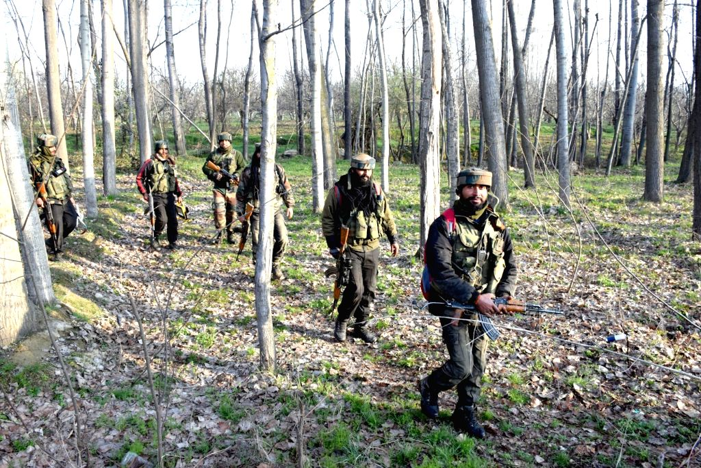 Cordon and search operation underway at Lassipora village, in Jammu and Kashmir's Pulwama district, after four Lashkar-e-Taiba (LeT) militants were killed in a gunfight with the security ...