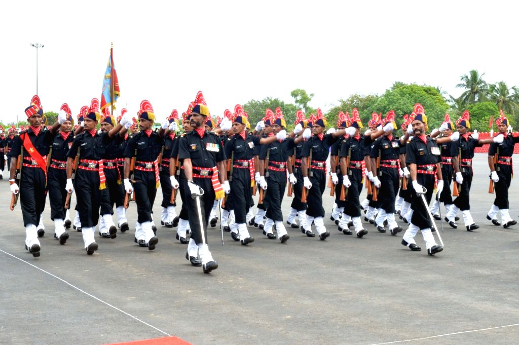 Corps of Army Air Defence personnel perform during a ceremony where President???s Colours was awarded to them by President Ram Nath Kovind on completion of 25 yrs as an independent arm, at ... - Nath Kovind