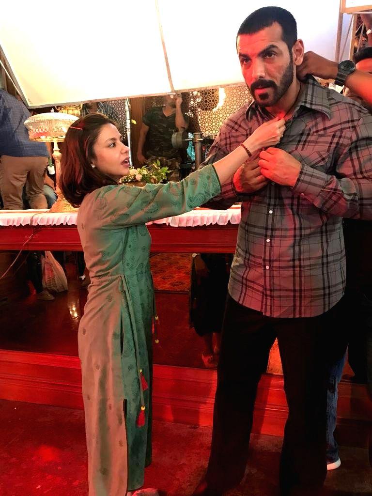 Costume designer Ameira Punvani with actor John Abraham. - John Abraham