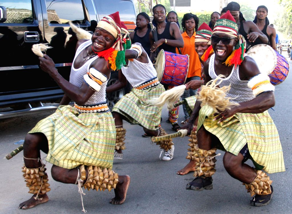 Dancers participate in the annual Benin Dancing Carnival in Cotonou, capital of Benin, on April 29, 2014.