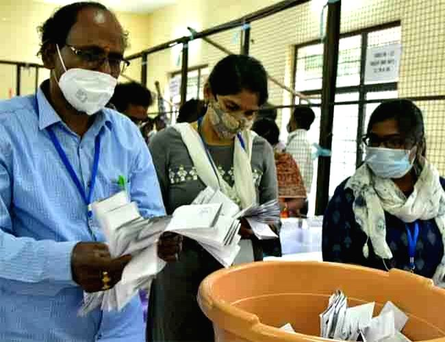 Counting of votes cast in the Greater Hyderabad Municipal Corporation (GHMC) elections, underway at a counting center in Hyderabad on Dec 4, 2020.