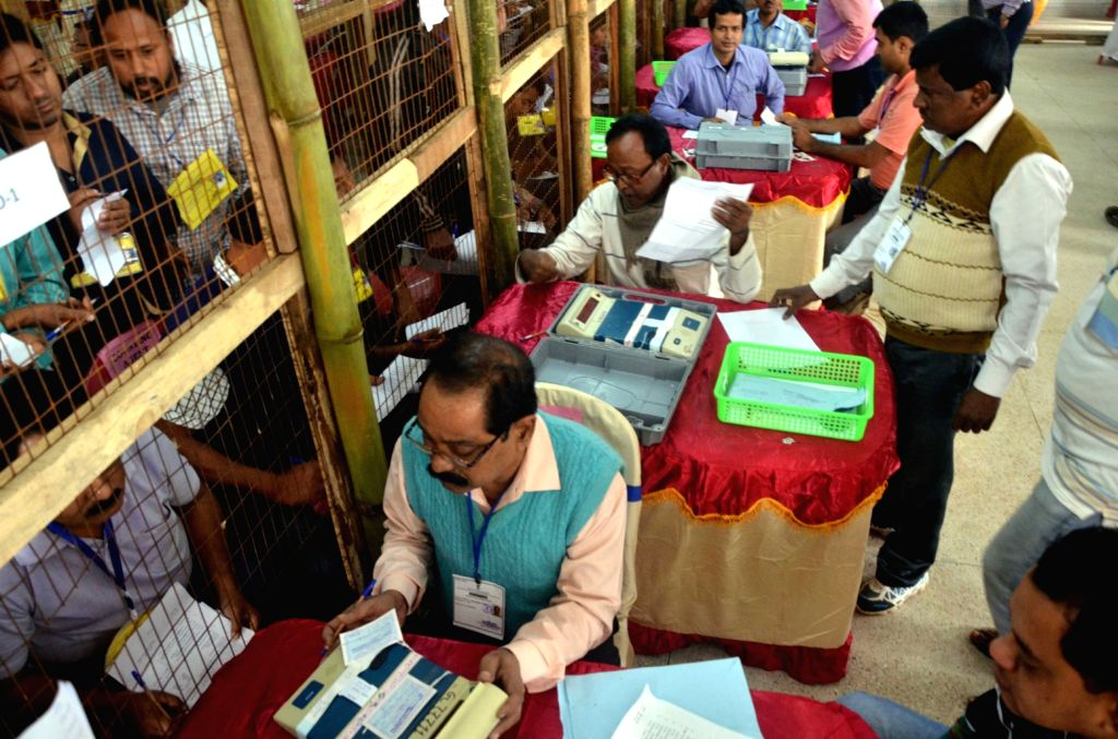 Counting of votes casted in the recently held Tripura Civic polls underway Amid tight security in Agartala, on Dec 12, 2015.