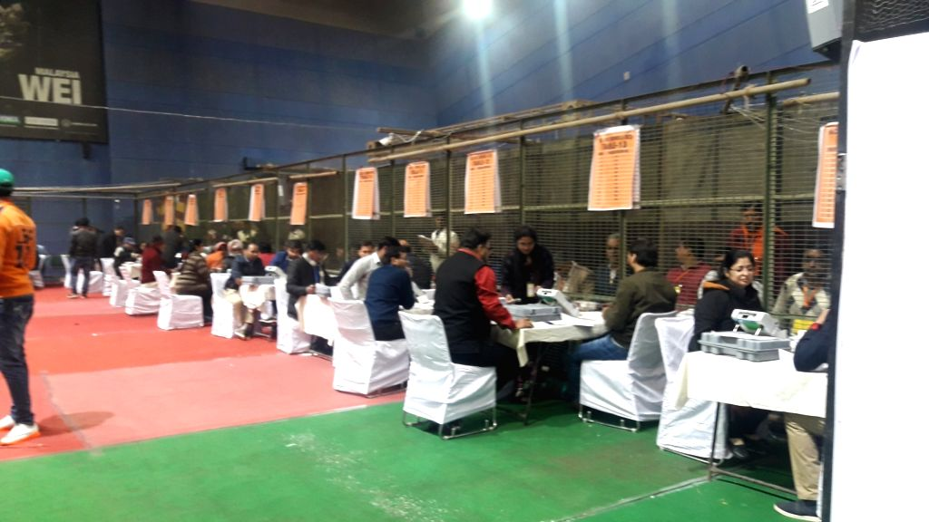 Counting of votes for the Delhi Assembly elections is underway, at Trilokpuri counting center in New Delhi on Feb 11, 2020.
