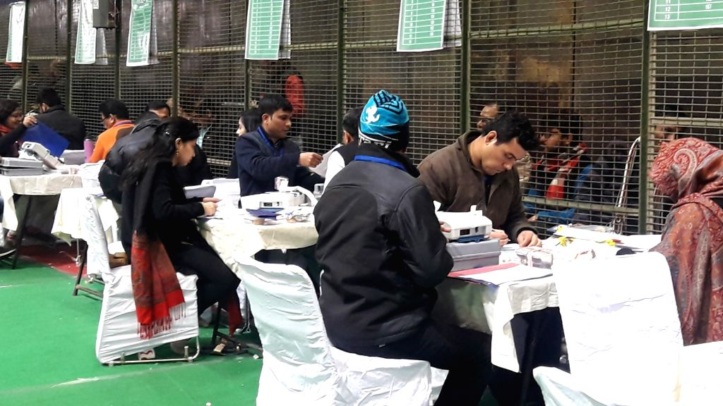 Counting of votes for the Delhi Assembly elections is underway, at Laxmi Nagar counting center in New Delhi on Feb 11, 2020.
