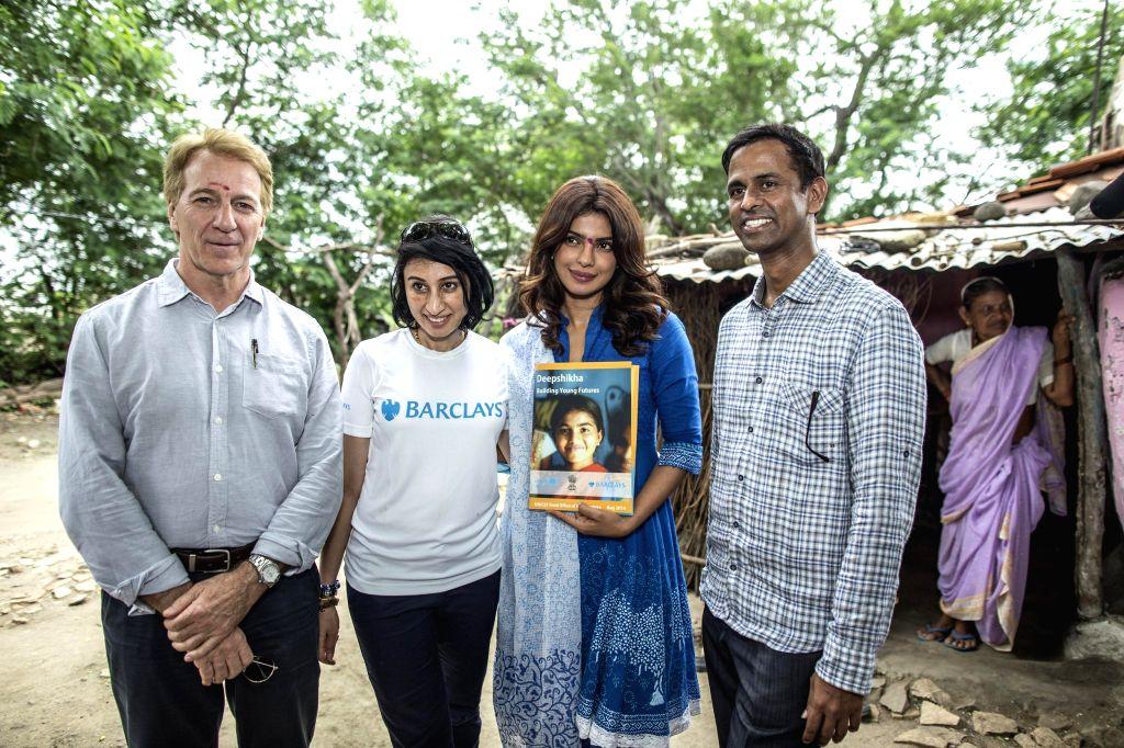 Country Representative for UNICEF India George Arsenault, Renu Kumar, UNICEF  India  Ambassador actress Priyanka  Chopra, Chief Operating Officer of  Barclays India Ram Gopal during a field visit to . - Renu Kumar