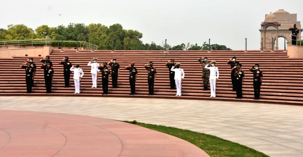 Coursemates pay homage to Colonel Santosh Babu.
