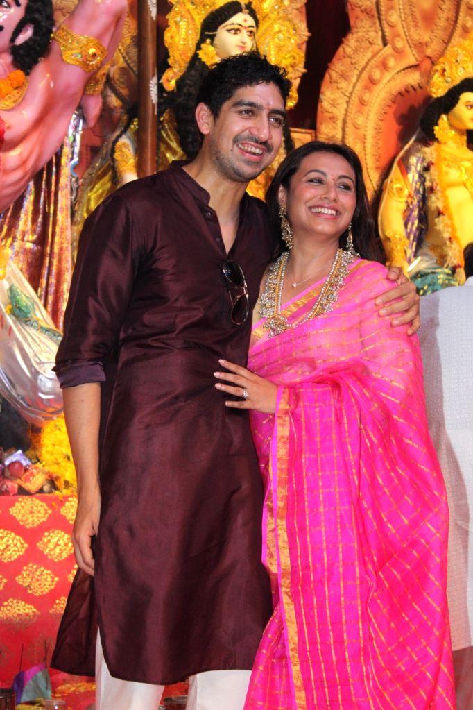 Cousins Ayan Mukerji and Rani Mukerji during Durga Navami celebrations at a Juhu Durga Puja pandal in Mumbai on Oct 7, 2019.