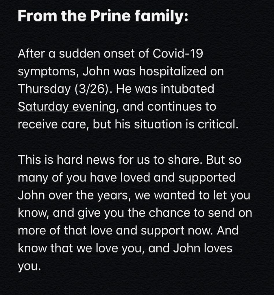 Covid-19: John Prine in critical condition.
