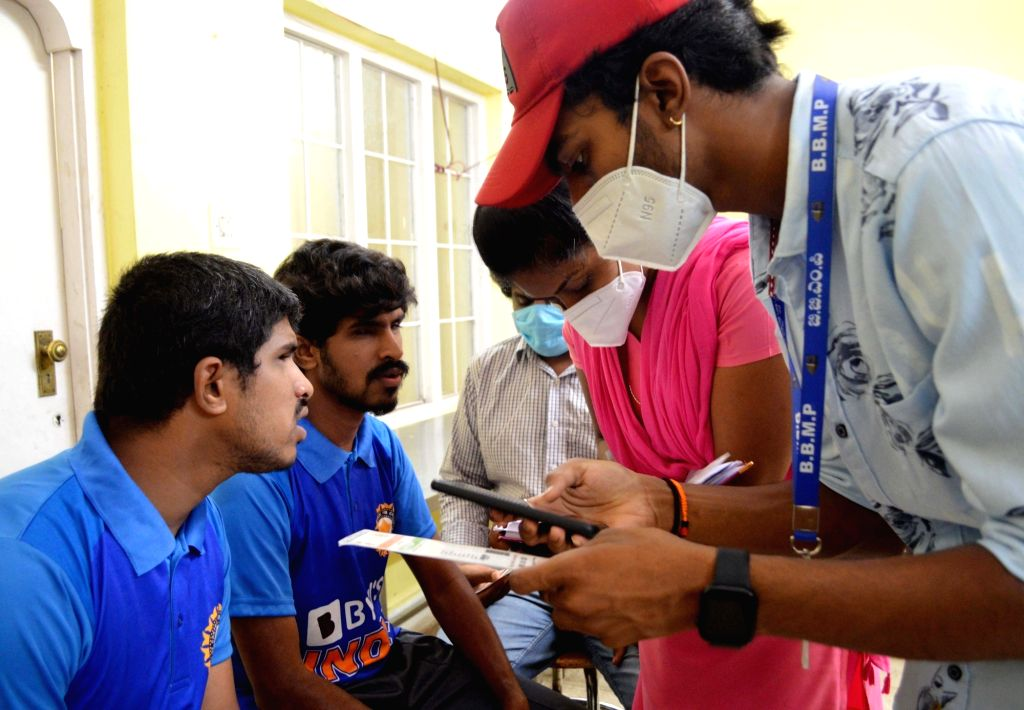 COVID-19 vaccine for orphaned blind students organised by BBMP and Bharati Nagar Residents Forum at Snehadeep Disabled Trust, Cox Town during the Coronavirus pandemic, in Bengaluru on Wednesday 26th ...