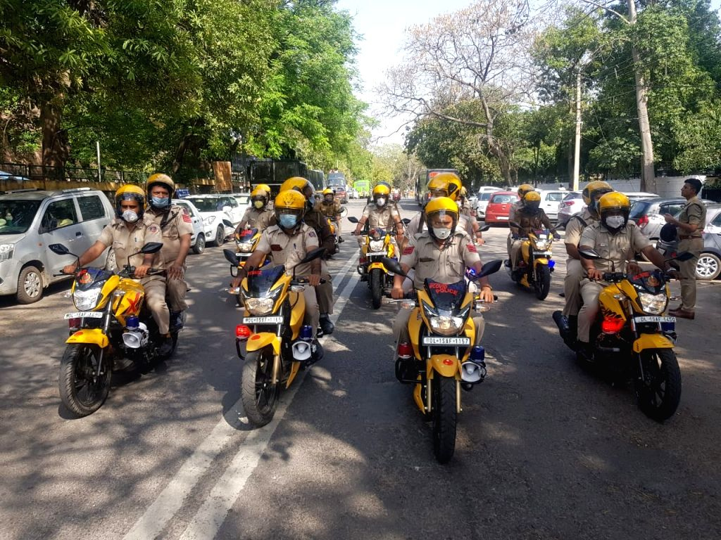 COVID Patrol' - 40 motorcycles launched by Delhi Police in South District to spread awareness about COVID-19 through bike patrolling & announcements.