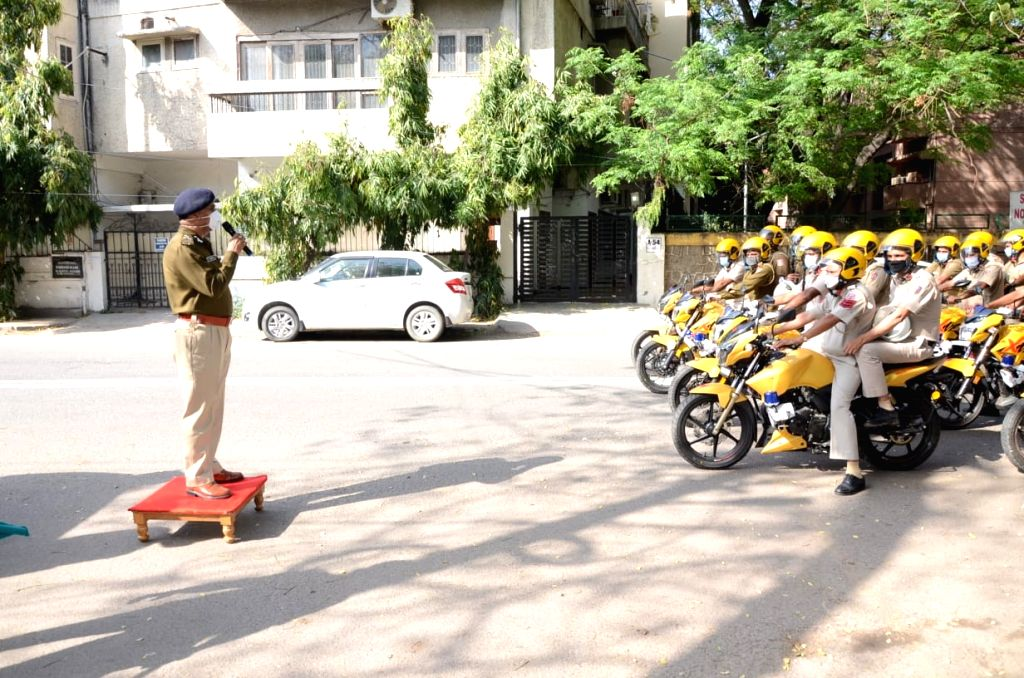 'COVID Patrol' - 40 motorcycles launched by Delhi Police in South District to spread awareness about COVID-19 through bike patrolling & announcements. (Photo: Sanjeev Kumar Singh Chauhan)