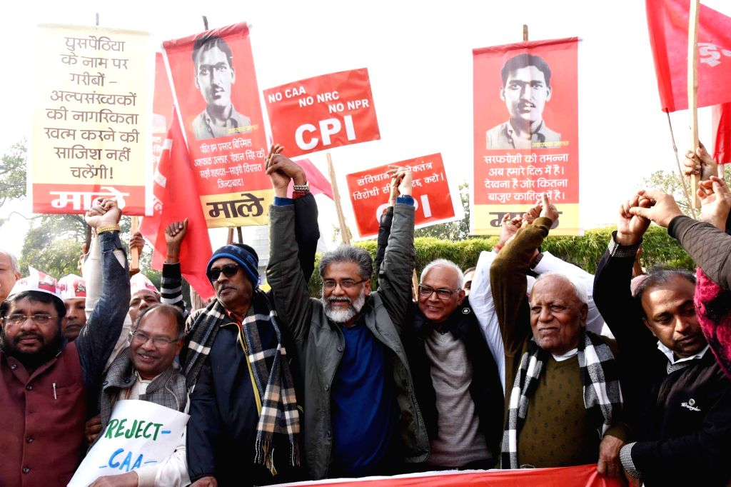 CPI and CPI-ML workers led by CPI-ML General Secretary Dipankar Bhattacharya, stage a demonstration against the Citizenship Amendment Act (CAA) 2019, National Register of Citizens (NRC) and ...