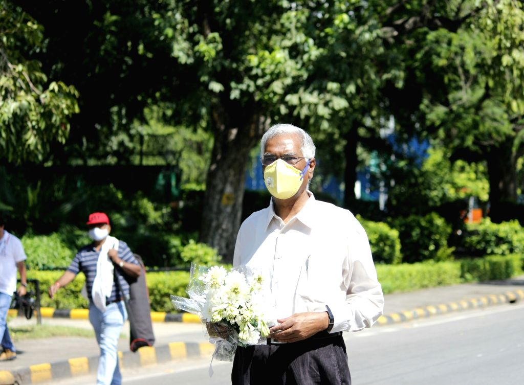 CPI General Secretary D Raja arrives at the 10 Rajaji Marg residence of Former President Pranab Mukherjee who passed away at the Army Research and Referral Hospital on Monday; in New Delhi ... - Pranab Mukherjee
