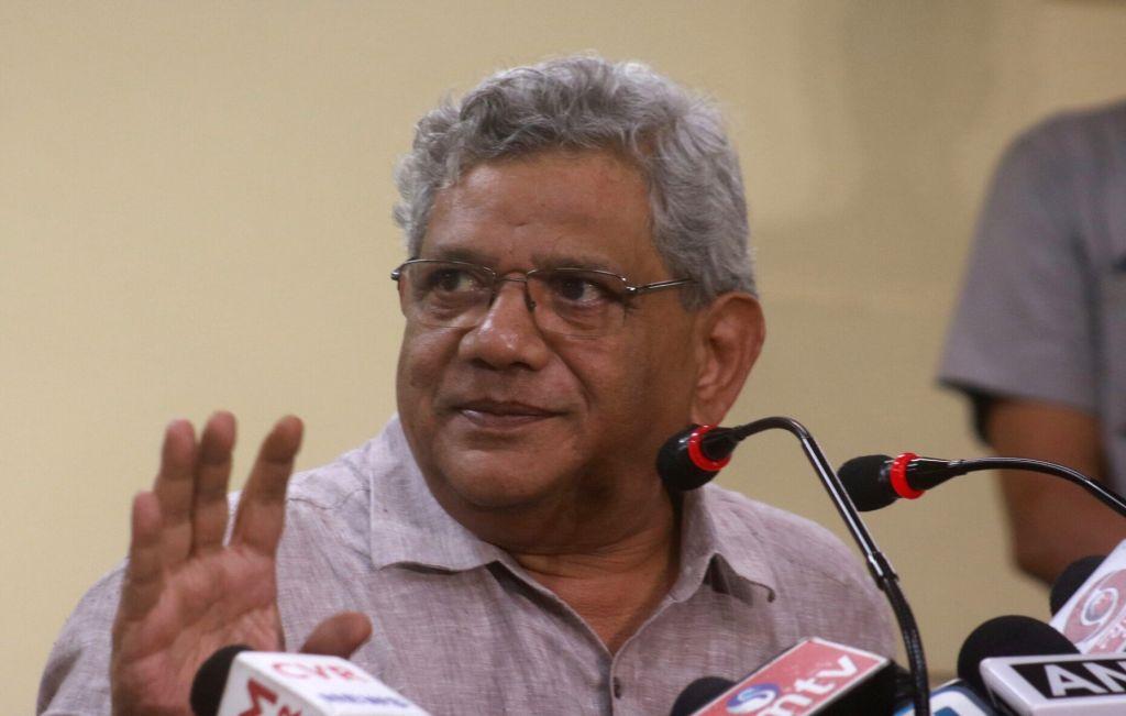CPI general secretary Sitaram Yechury addresses a press conference in New Delhi on Aug 16, 2017. - Sitaram Yechury