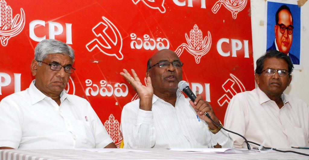CPI leader Chada Venkat Reddy addresses a press conference in Hyderabad on July 2, 2017. - Chada Venkat Reddy