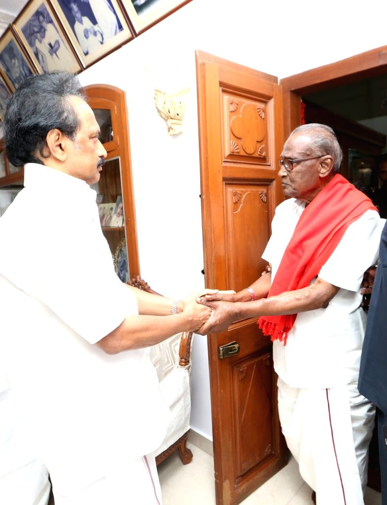 CPI leader D. Pandian meets DMK working president M.K. Stalin, in Chennai, on July 27, 2018. M. Karunanidhi (94) is suffering from urinary tract infection and is being treated at home.