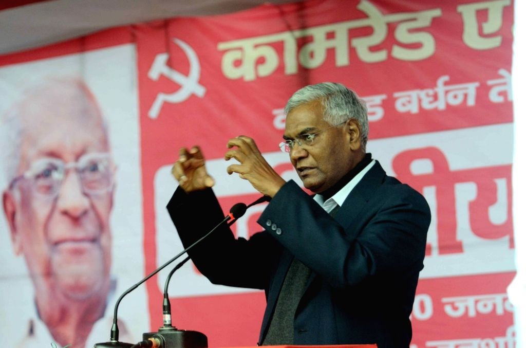 CPI leader D Raja addresses during a programme organised to pay tribute to party leader A B Bardhan in Patna on Jan 20, 2016.