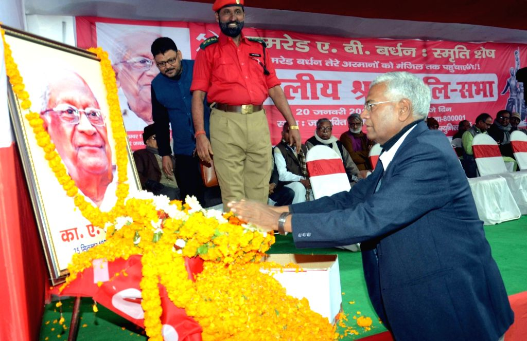 CPI leader D Raja paya tribute to party leader A B Bardhan in Patna on Jan 20, 2016.