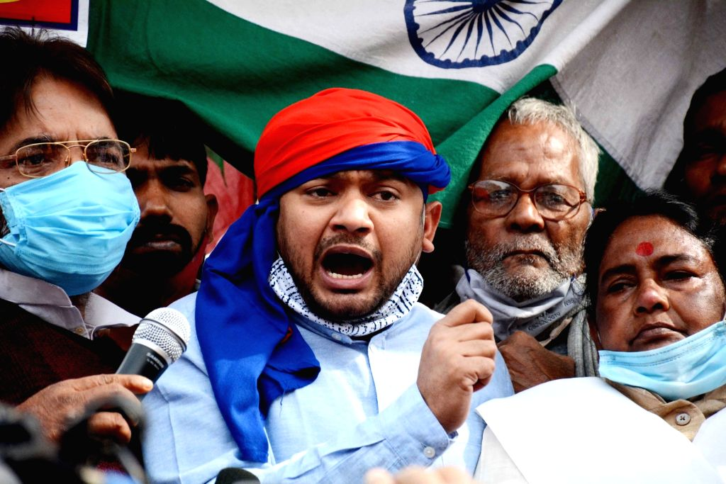CPI leader Kanhaiya Kumar addresses a protest by various trade unions during the 24-hour nationwide trade union strike called by the central trade unions against the central government's new ... - Kanhaiya Kumar