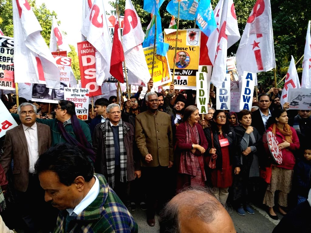 CPI leaders D. Raja and Brinda Karat, CPI-M leader Sitaram Yechury, RJD leader Manoj Jha and Congress leader Kiran Walia participate in a protest rally taken out by students from Mandi ... - Sitaram Yechury