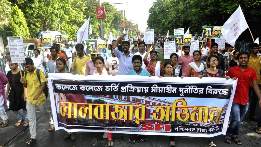 CPI-M activists stage a demonstration against the West Bengal Government, in Kolkata on July 7, 2018.