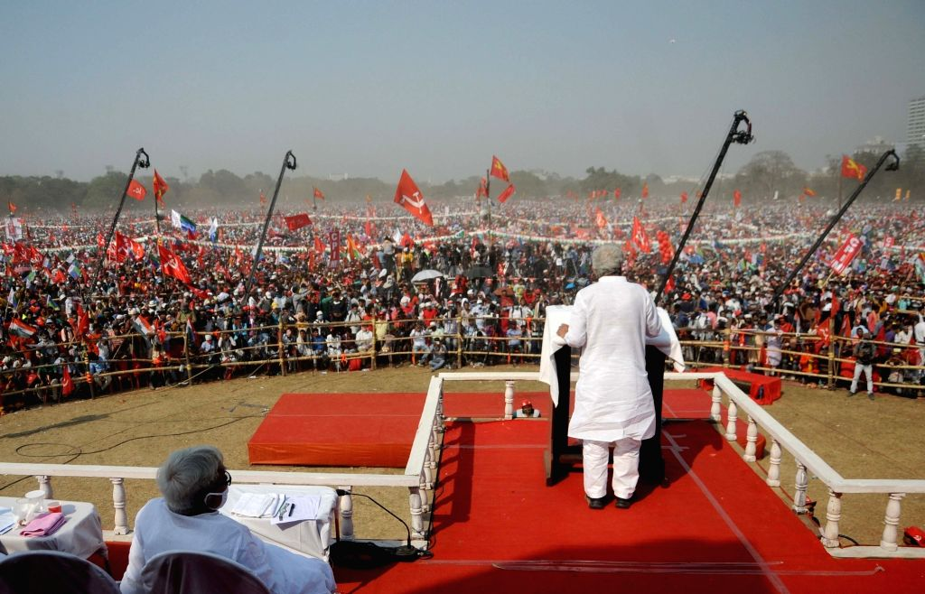 CPI(M) All India General Secretary Sitaram Yechury addressing during Left, Congress, ISF joint rally at Brigade Parade Ground against TMC and BJP ahead of State Assembly Election in Kolkata ... - Sitaram Yechury