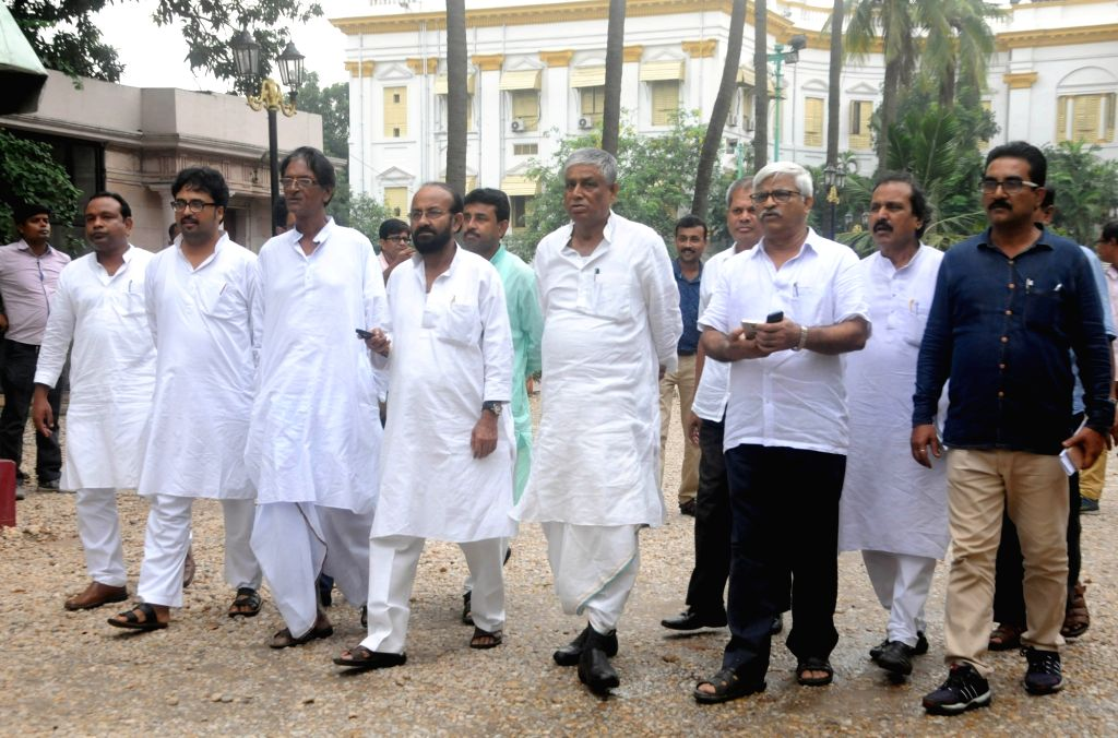 CPI-M and Congress MLAs come out after meeting West Bengal Governor Keshari Nath Tripathi in Kolkata on July 23, 2018. - Keshari Nath Tripathi
