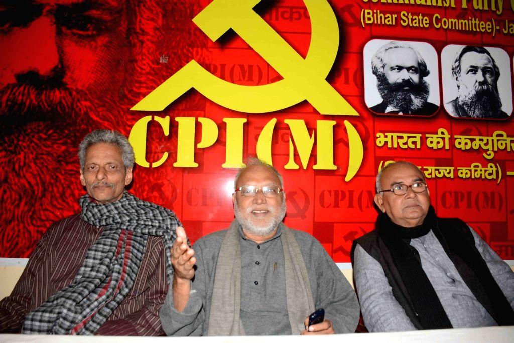 CPI-M Bihar state committee Secretary Awadhesh Kumar addresses a press conference, in Patna on Feb 6, 2020. - Awadhesh Kumar