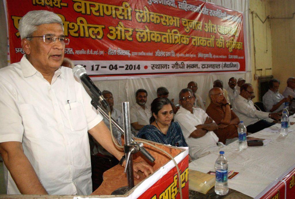 CPI-M General Secretary Prakash Karat addresses during an election campaign in Varanasi on April 17, 2014.