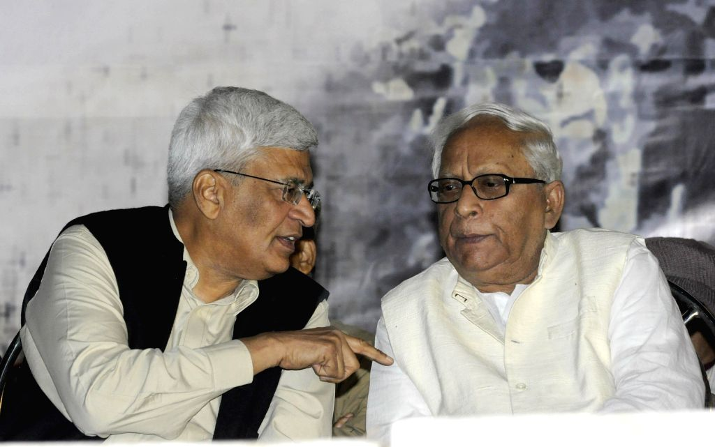 CPI-M general secretary Prakash Karat, former West Bengal Chief Minister Buddhadeb Bhattacharjee during a leftist mass rally in Kolkata on Friday.