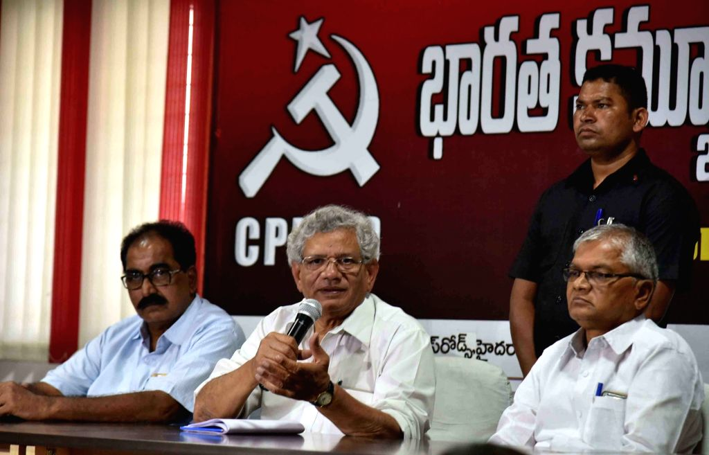 CPI-M General Secretary Sitaram Yechuri addresses a press conference in Hyderabad on Feb 20, 2019.