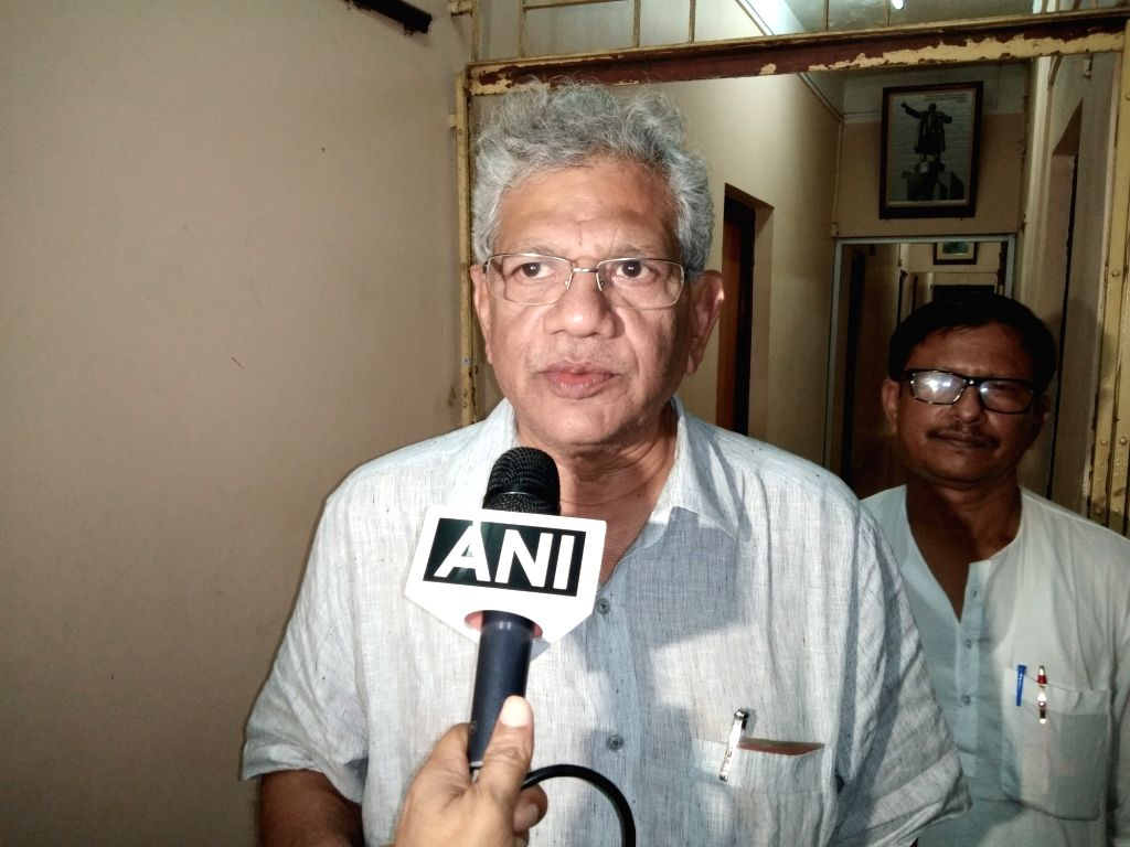 CPI-M General Secretary Sitaram Yechuri talks to a media personal ahead of the party's Central Committee meeting in New Delhi from June 7 to June 9, in Agartala on June 3, 2019.