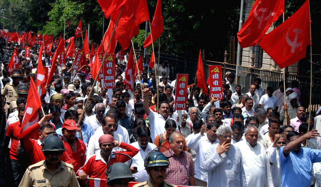 CPI-M General Secretary Sitaram Yechury participate during a protest rally against Maharashtra government in Mumbai on Aug 1, 2015. - Sitaram Yechury