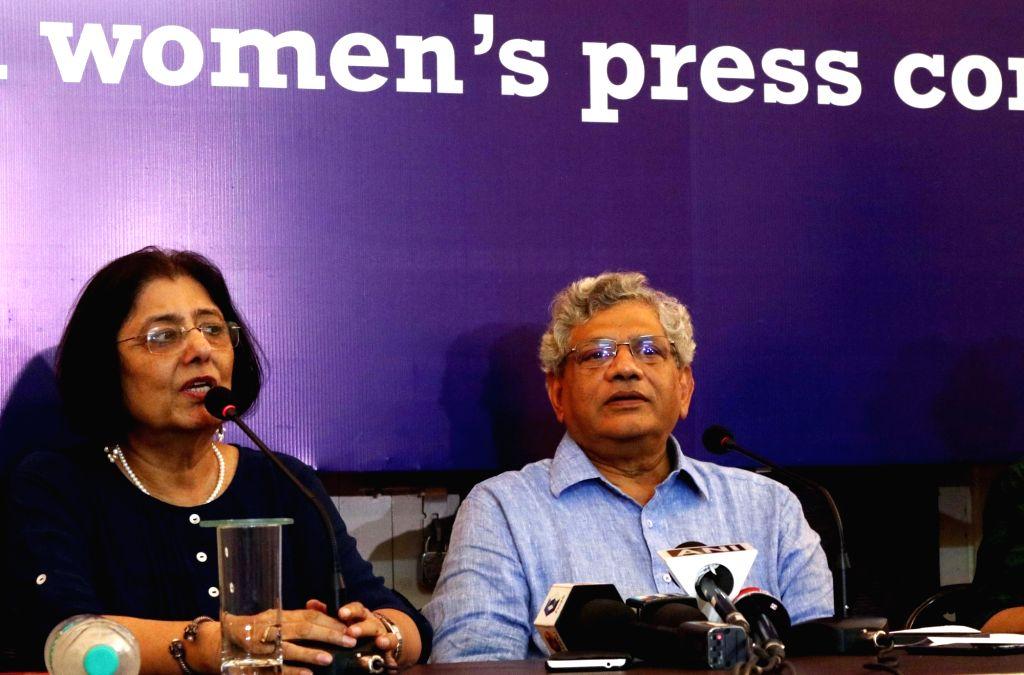 CPI-M General Secretary Sitaram Yechury addresses during an interactive session at Women Press Club in New Delhi, on Aug 1, 2016. - Sitaram Yechury