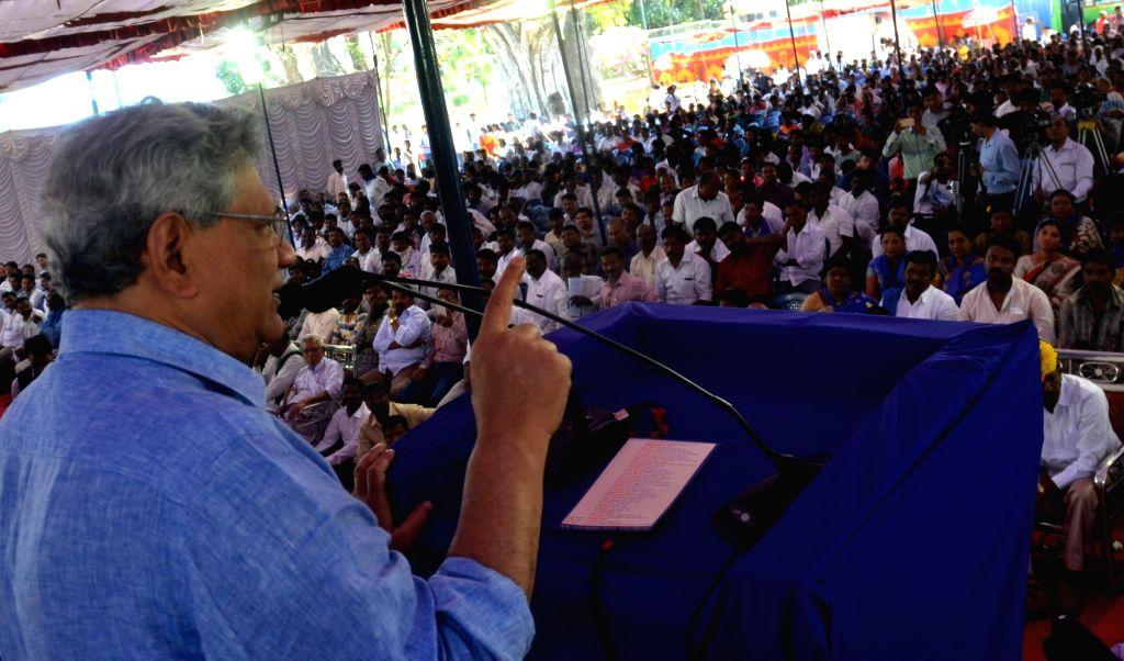 CPI(M) General Secretary Sitaram Yechury addresses during Dalit Swabhimana Sangharsha rally in Bengaluru on Nov 26, 2015. - Sitaram Yechury