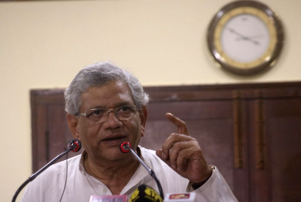 CPI-M General Secretary Sitaram Yechury addresses a press conference, in New Delhi on May 22, 2018. - Sitaram Yechury