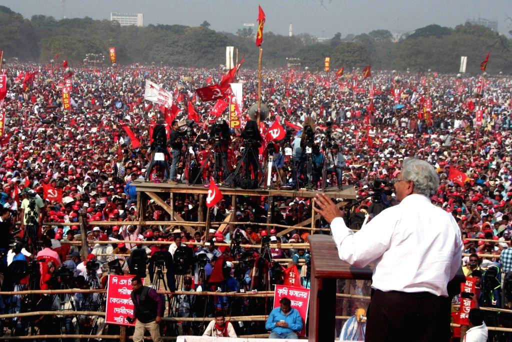CPI-M General Secretary Sitaram Yechury addresses during a Left Front rally at the Brigade Parade ground in Kolkata on Feb 3, 2019. - Sitaram Yechury