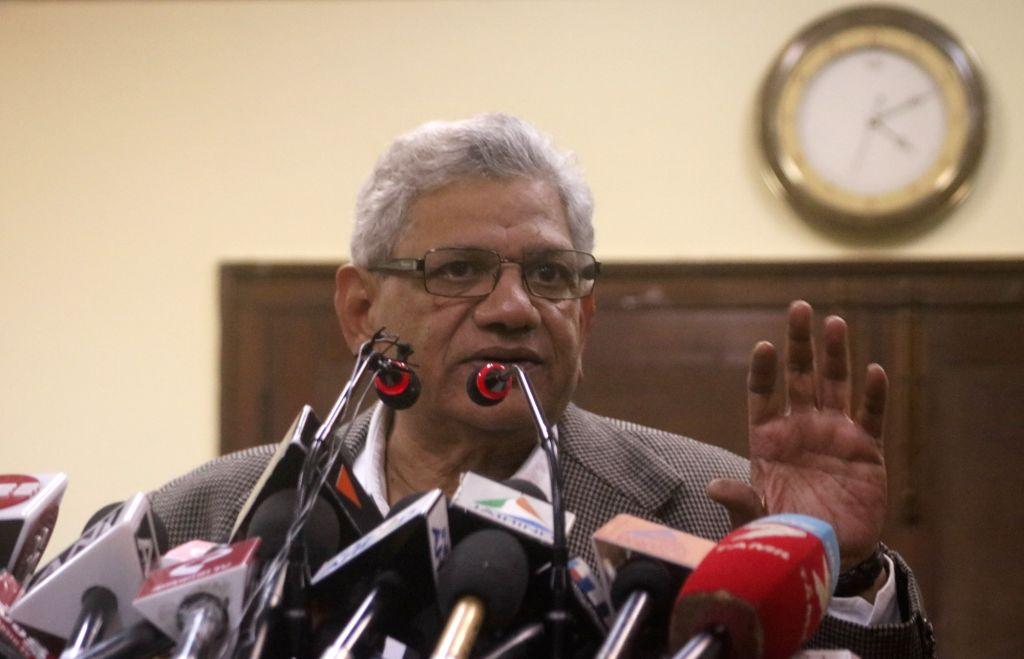 CPI-M General Secretary Sitaram Yechury addresses a press conference in New Delhi. - Sitaram Yechury
